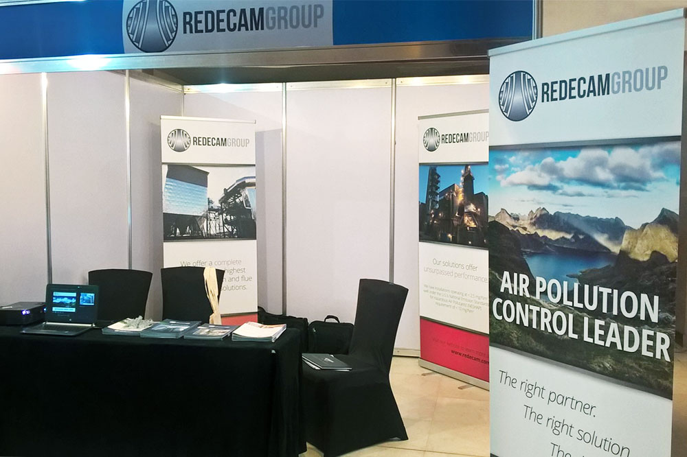 Redecam's booth setup at the AICCE